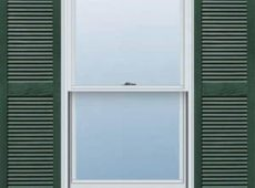 Cedar Shutter in Cottage Green with divider Rail