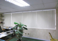 Office Large Vertical White Blockout PVC with Chains