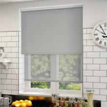 Double Roller blinds lite grey Sunscreen & Matching Blockout