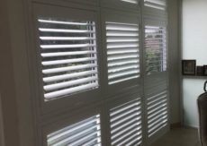 Hinged Plantation Shutters Installed in 9 Sections