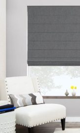 Roman Blind Gray Blockout Chain Operated