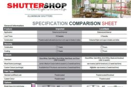 Specification Comparison Sheet